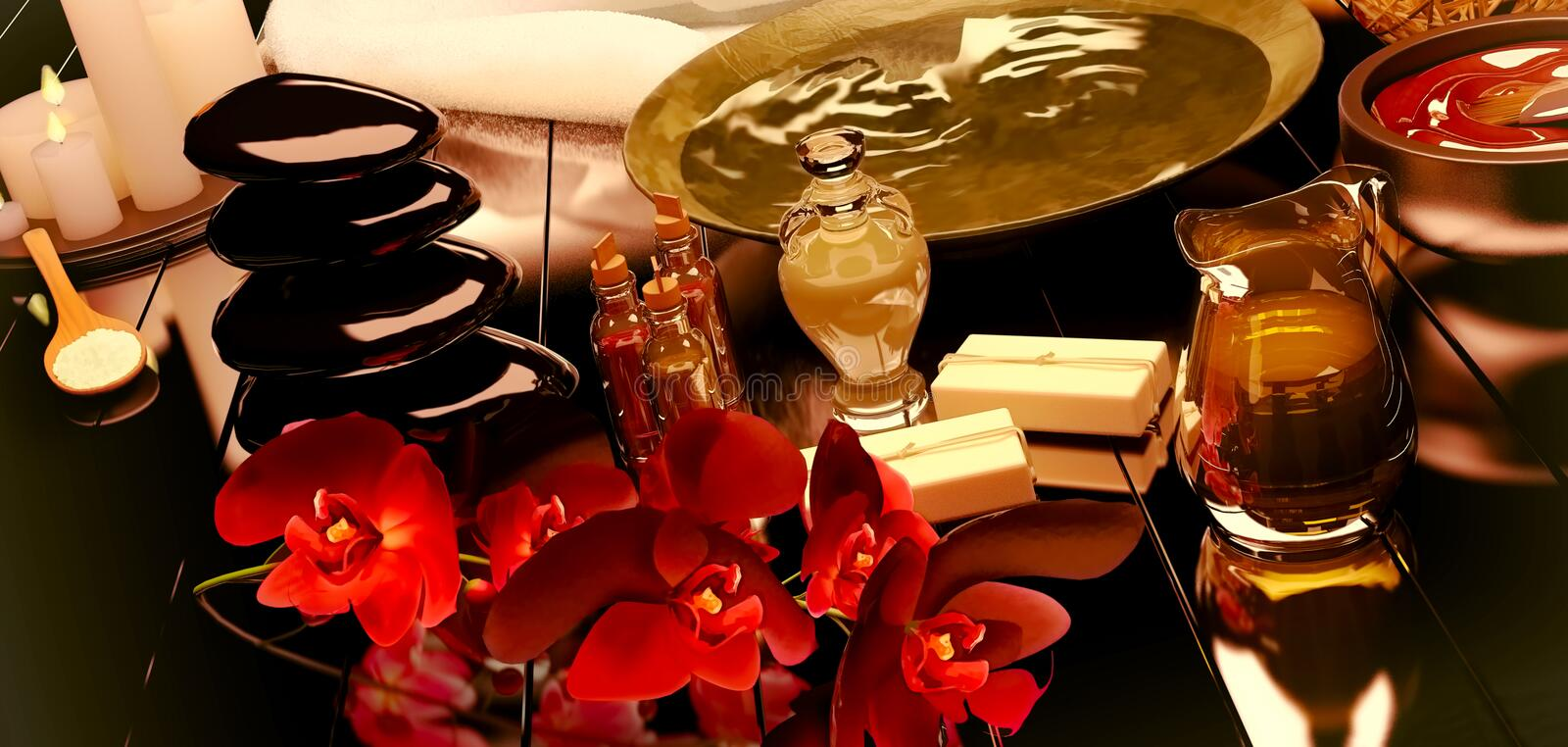Spa still life with burning candles and flowers of an orchid. stock photos