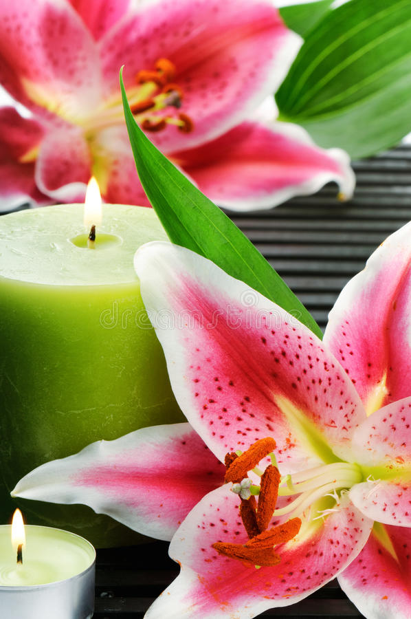 Download Spa Still Life With Candle And Pink Lilies Royalty Free Stock Image - Image: 26648646