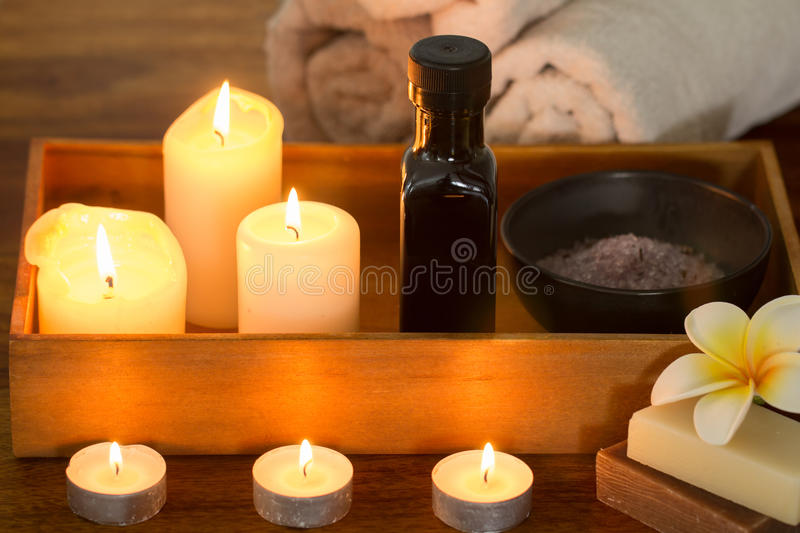 Spa still life with candles royalty free stock image