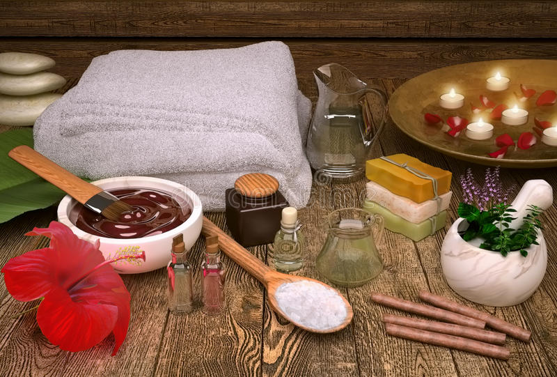 Spa still life with candles, spa products and hibiscus flower. Horizontal royalty free stock photography