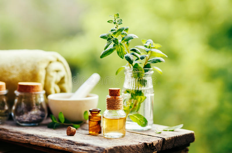 Spa still life with essential oil stock photo