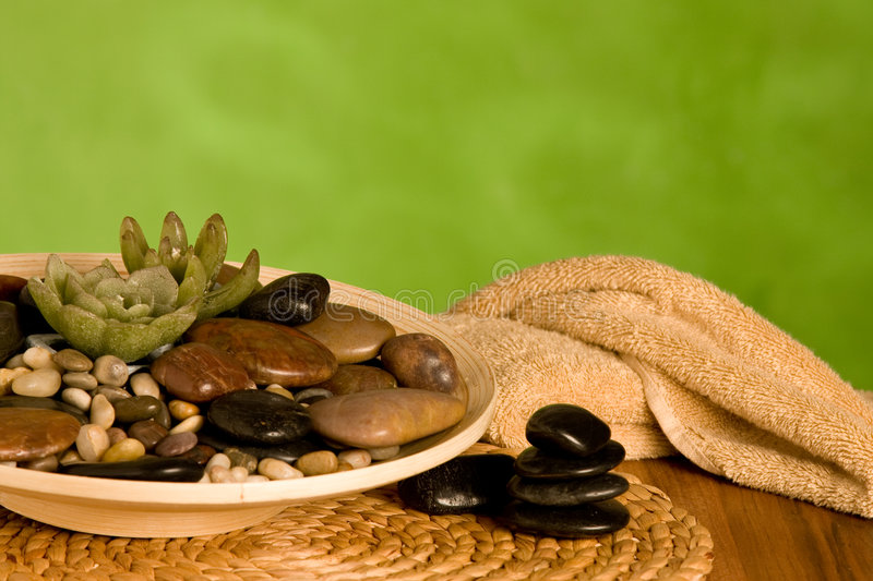 Spa still life with pebbles stock photography