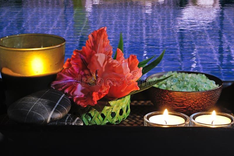Spa still life at pool stock image