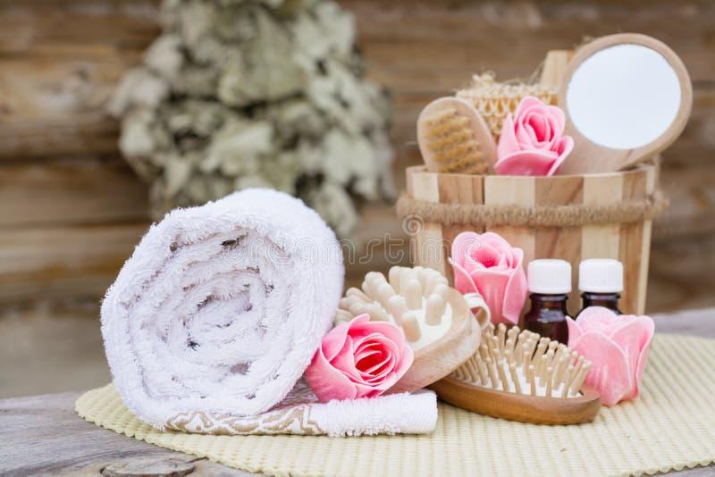 Spa stilleben med objekt för tvätt royaltyfria foton