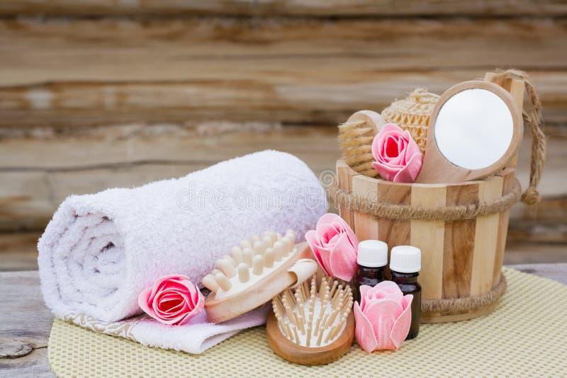 Spa stilleben med objekt för tvätt royaltyfri fotografi