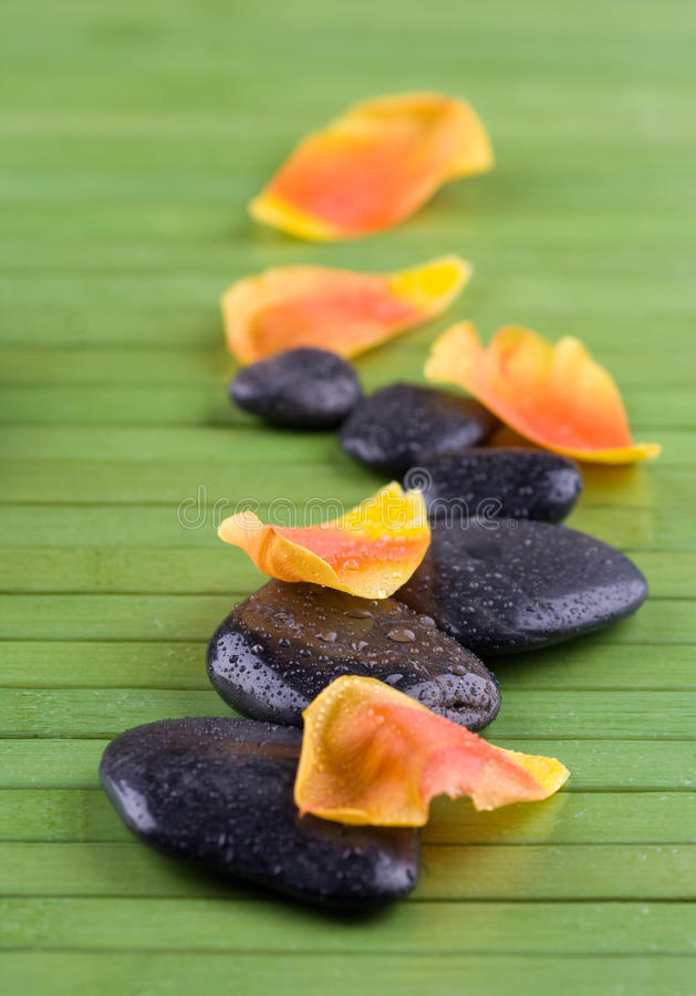 Free Spa Stone Therapy With Orange Petales Stock Image - 22895341