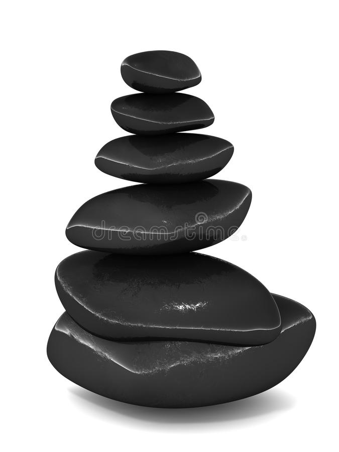 Spa stones. On top of one another on white background, concept of spa service and relaxing spa holiday royalty free illustration