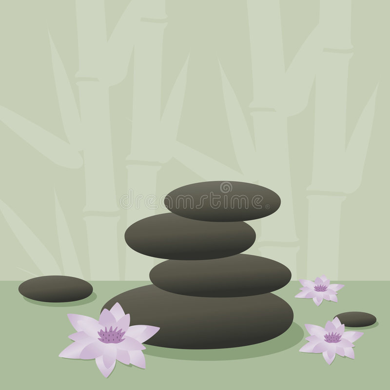 Spa stones. And lotus flowers with bamboo background stock illustration