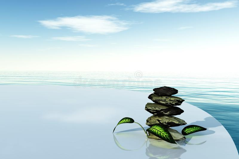 Spa stones on a background of sea stock photos