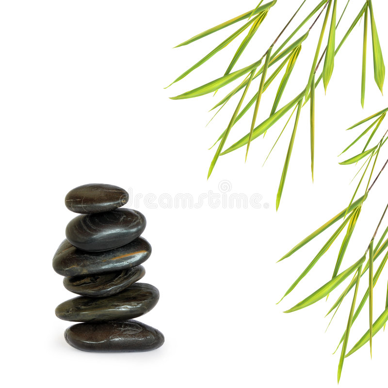 Spa Stones and Bamboo Leaf Grass. Zen abstract design of black spa treatment stones in perfect balance with bamboo leaf grass, over white background stock photography