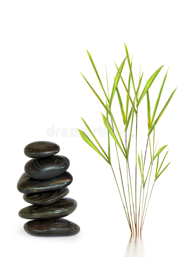 Spa Stones and Bamboo Leaf Grass. Zen abstract design of spa massage treatment stones in perfect balance with bamboo leaf grass, over white background stock photography