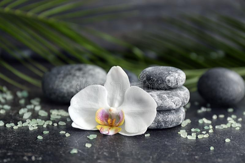 Spa stones and beautiful orchid flower on grey table royalty free stock photo