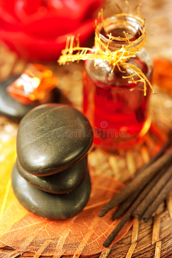 Spa stones and essential oils stock image