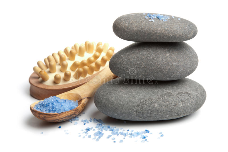 Download Spa Stones And Herbal Salt Isolated Stock Image - Image of body, herbal: 12214303