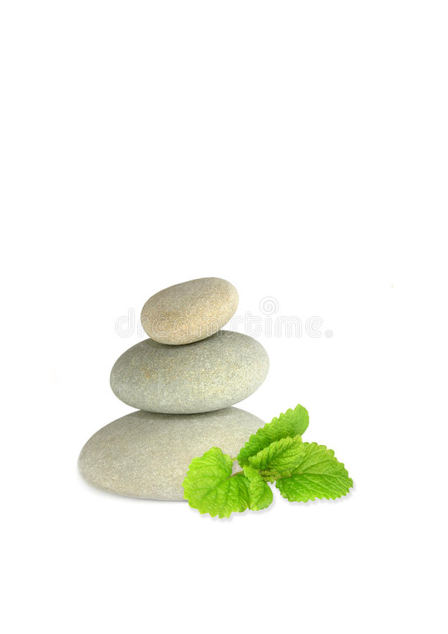 Spa Stones and Lemon Balm Herb stock photo