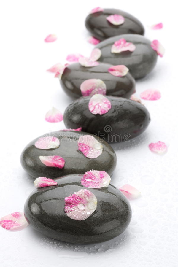 Download Spa Stones With Rose Petals Stock Photo - Image of massage, image: 18680222