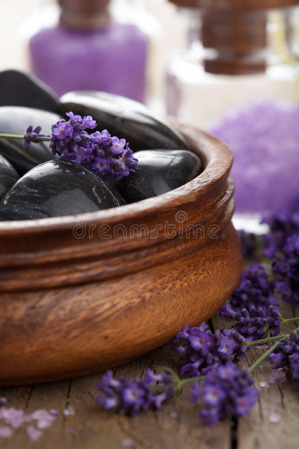 Spa stones salt and lavender. Closeup shot of spa stones salt and lavender royalty free stock image