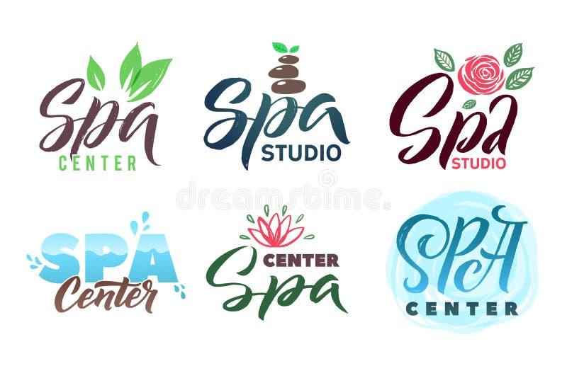 SPA Studio Vector Logo Set. Stroke Illustration. Brand Lettering royalty free illustration