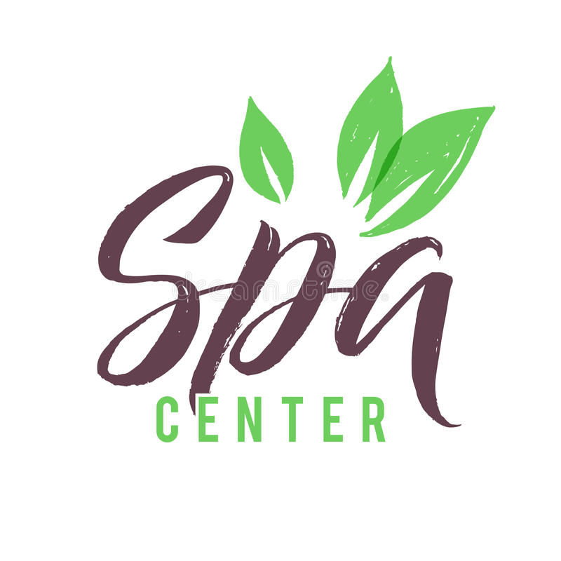 SPA Studio Vector Logo. Stroke Green Leaf Illustration. Brand Lettering stock illustration