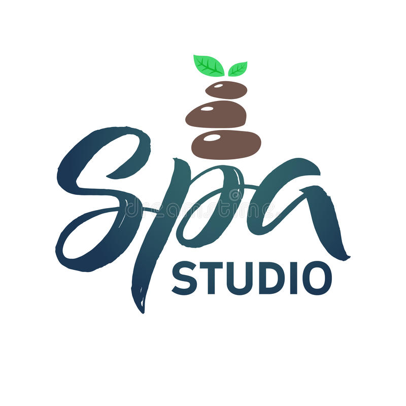 SPA Studio Vector Logo. Stroke Green Leaf Illustration. Brand Lettering. stock illustration