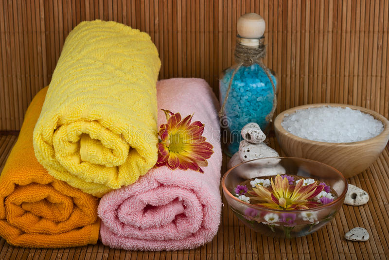 Spa style Towel with flower stock images