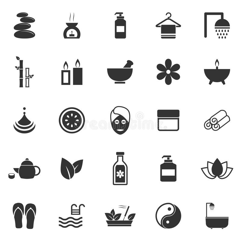 Spa symboler på vit bakgrund vektor illustrationer