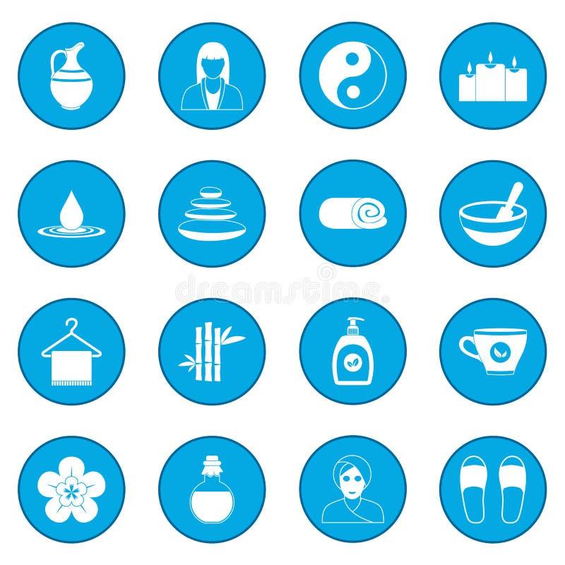 Spa symbolsblått royaltyfri illustrationer