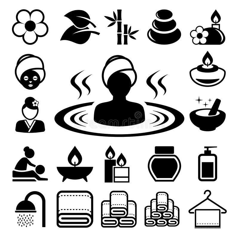 Spa symbolsuppsättning vektor illustrationer