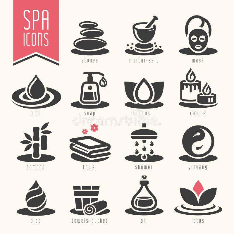 Spa symbolsuppsättning stock illustrationer