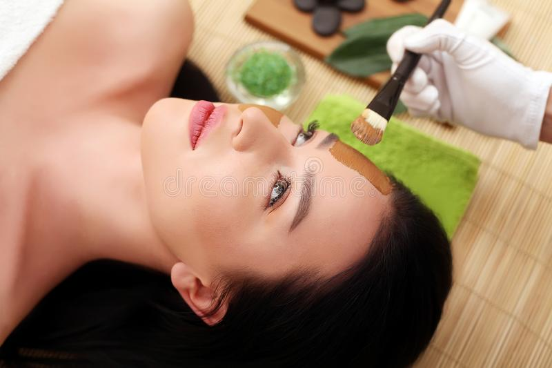 Spa terapi för den unga kvinnan som har den ansikts- maskeringen på skönhetsalongen - inomhus royaltyfri bild