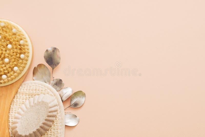Spa terapiväsentlighet förkroppsligar borsteluffasvamptvål royaltyfri fotografi