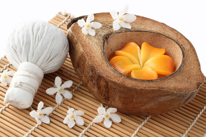 Spa Thai and coconut shell candle royalty free stock image