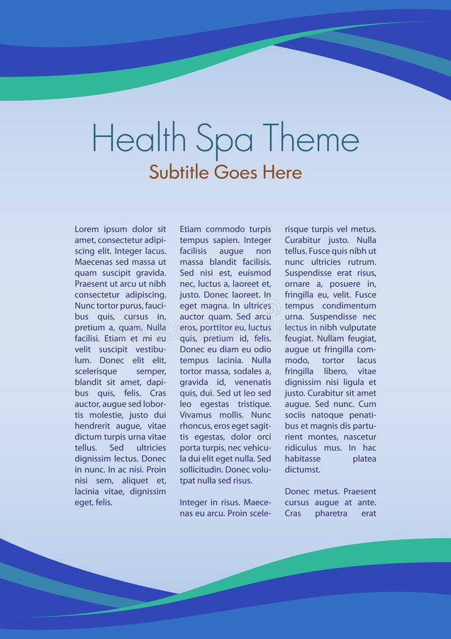 Spa Theme. Page layout for a Health Spa, or any sort of similar activities vector illustration