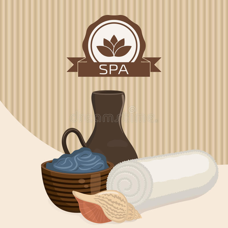 Spa theme object. Dead sea mud for spa treatments in a cup. White towel and seashell stock illustration