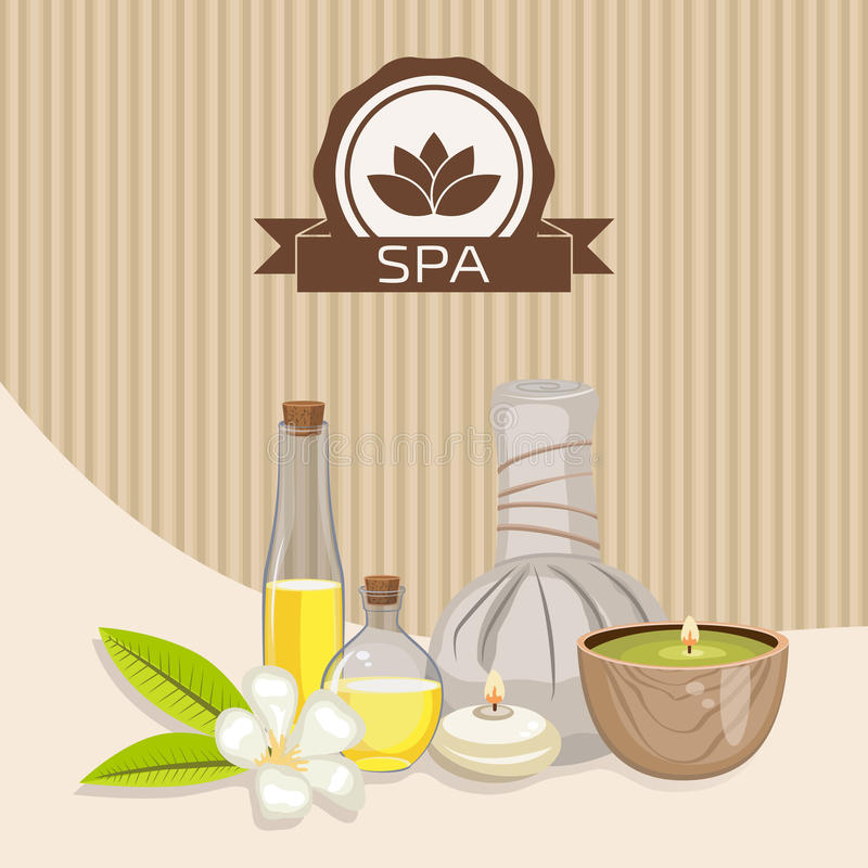 Spa theme object. Different candles, massage oil, herbal balls and orchid flower stock illustration