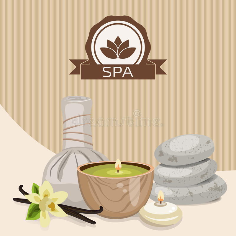 Spa theme object. Different candles, massage stones, herbal balls and vanilla flower vector illustration