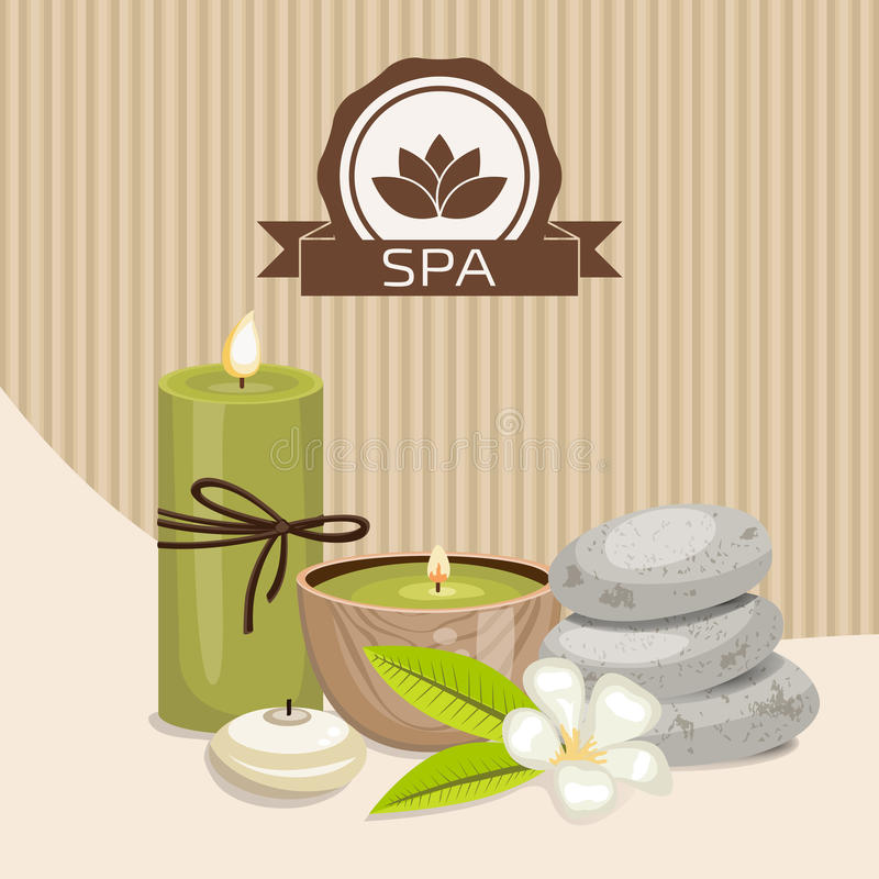 Spa theme object. Different candles, massage stones and orchid flower stock illustration