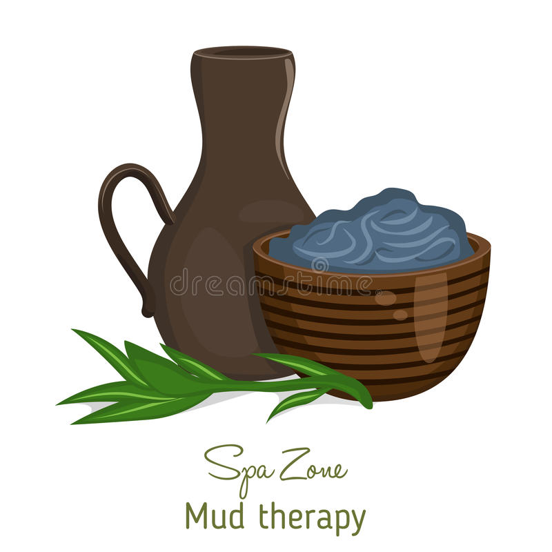 Spa theme object on white background. Spa theme object. Dead sea mud for spa treatments in a cup vector illustration
