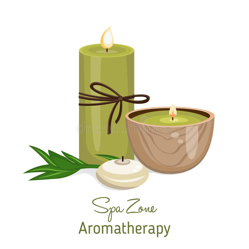 Spa theme object on white background. Different candles and and bamboo shoot stock illustration