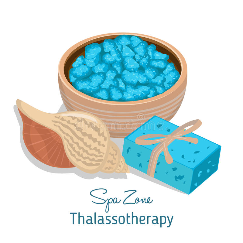 Spa theme object on white background. Thalassotherapy royalty free illustration