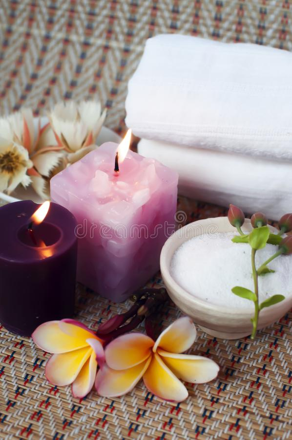 Spa theme rock and candle royalty free stock image
