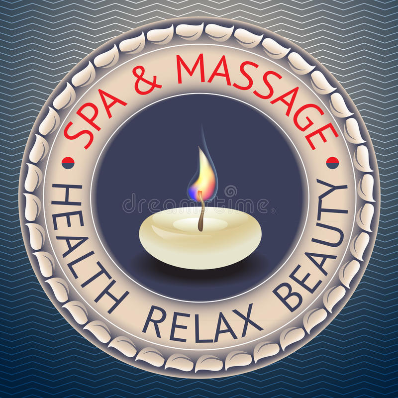 SPA theme vector illustration with candle. Badge template with text Spa Massage, Health Relax Beauty stock illustration