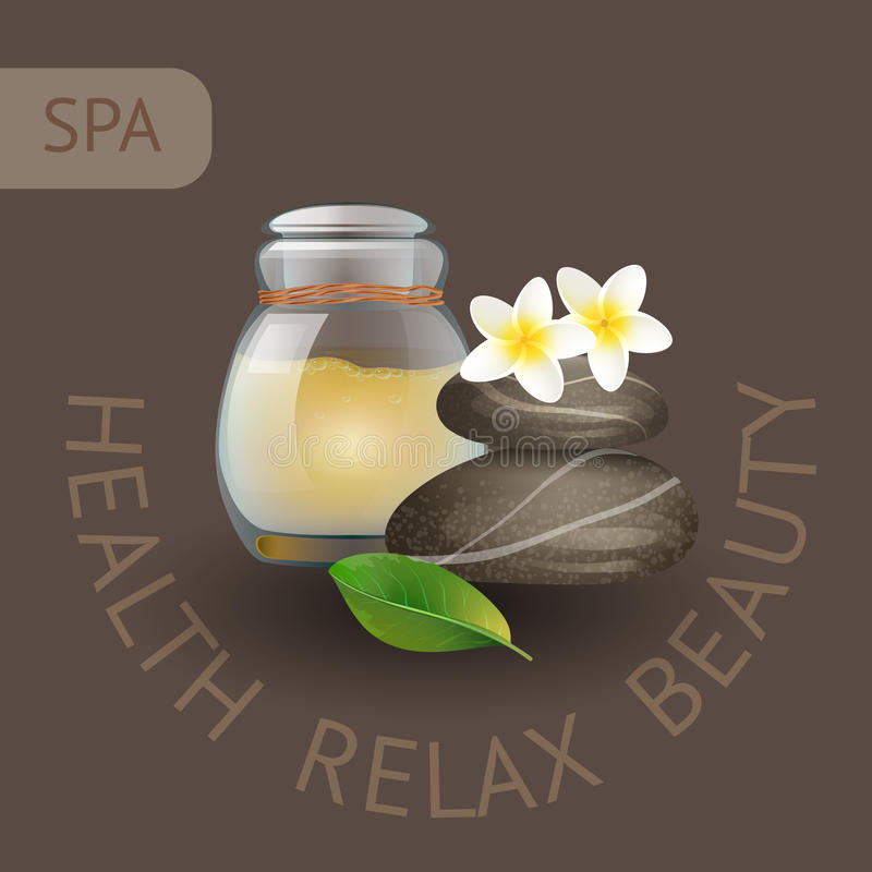 SPA theme vector illustration with jar, stones and flowers. Badge template with text Health Relax Beauty vector illustration