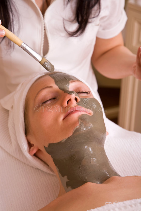 Spa therapy. Wellness concept with face care spa therapy session stock image