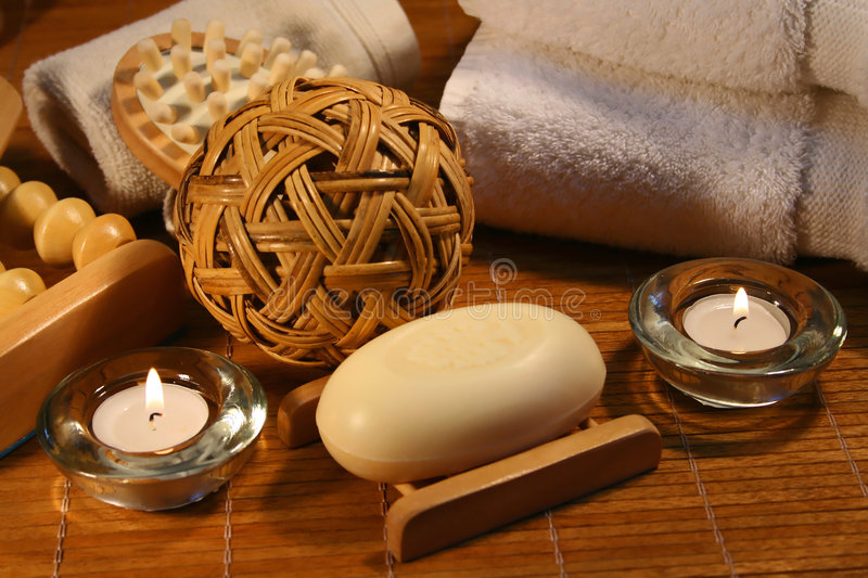 Spa therapy. Essentials products for spa therapy stock photography