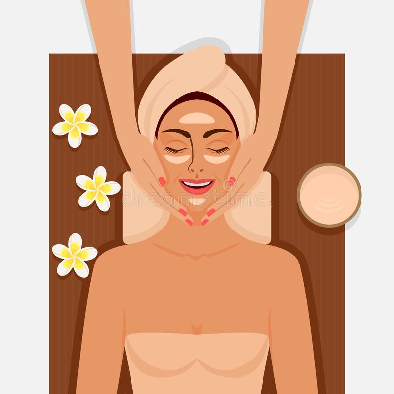 Spa therapy. Girl getting facial massage at spa salon stock illustration