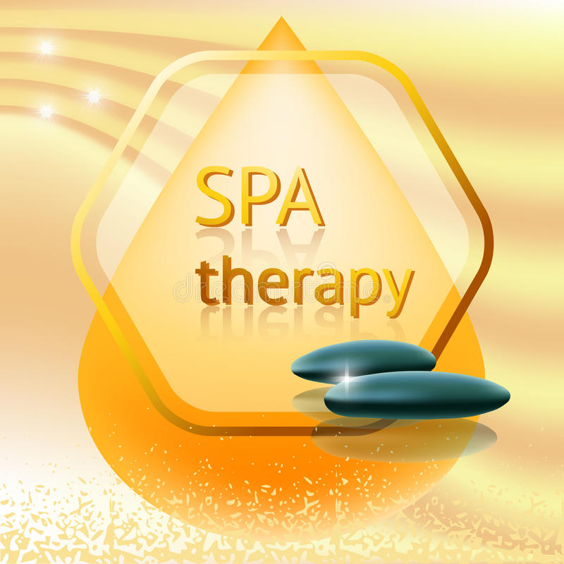 Spa therapy theme vector illustration. With massage stones on yellow background royalty free illustration