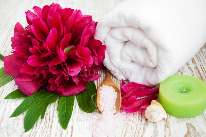 Spa towel with peony flower stock image