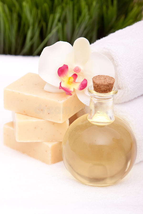 Download Spa towels, soap and oils stock image. Image of grass - 13987867