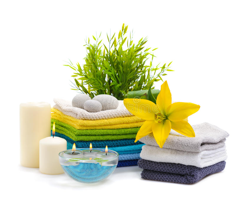 Download Spa Towels With Yellow Lily Stock Image - Image of burn, objects: 22836933